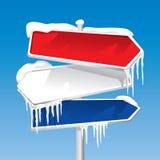 Bevroren voorzie van wegwijzers (vector) stock illustratie