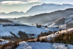 Bevroren zonnige dag van de winter, op de wilde heuvels van Transsylvanië Stock Afbeelding
