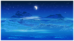 Bevuxen kust på natten vektor illustrationer