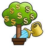 Bewässerung des Geld-Baums Stockbilder
