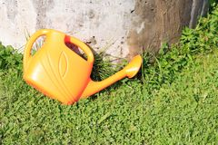 Bewässerungsdose auf Gras Lizenzfreies Stockbild