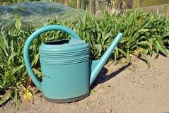 Bewässerungsdose im Gemüsegarten Lizenzfreie Stockfotos