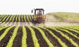Bewässerungssystem in der Funktion am Sojabohnenölbohnenfeld lizenzfreie stockfotografie