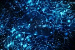 Bewölken Sie Datenverarbeitungskonzept in der 2d Wiedergabe des digitalen Hintergrundes Stockbild