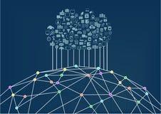 Bewölken Sie die Datenverarbeitung, die an das World Wide Web/das Internet angeschlossen wird Lizenzfreie Stockbilder