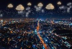 Bewölken Sie die Datenverarbeitung mit Vogelperspektive von Tokyo, Japan lizenzfreie abbildung