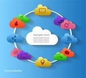 Bewölken Sie die weiße Datenverarbeitung im Kreis mit blauer Hintergrundtechnologie und Medienikonenvektor Lizenzfreies Stockfoto