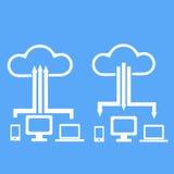 Wolkenspeicher mit verschiedenen Datenendeinrichtungen Lizenzfreies Stockbild