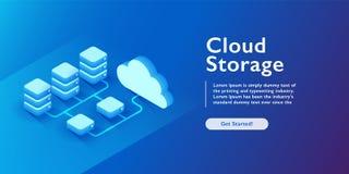 Bewölken Sie Storage Technology, Getriebe und Austausch datacenter, Serverraum, dunkle isometrische Vektorneonillustration stock abbildung
