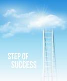 Bewölken Sie Treppe, die Weise zum Erfolg im blauen Himmel Stockbild