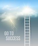 Bewölken Sie Treppe, die Weise zum Erfolg im blauen Himmel Stockfotografie