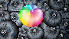 Bewölkt Reflexion auf den Regenschirmen mit einem Regenbogenregenschirm abstrakte Vektorillustration