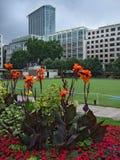 Bewölkte London-Büros und Blumen Stockfotografie