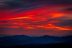 Bewölkte Sonnenuntergang Clingmans-Haube Stockfotos