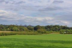 Bewölkter Himmel über dem Feld stockfotos