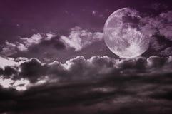 Bewölkter Himmel der Weinlese mit Vollmond Kopieren Sie Platz Stockbild