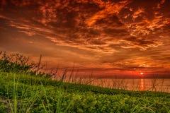 Bewölkter Sonnenaufgang Stockfoto