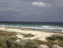 Bewölkter Strand in Cozumel Stockfoto