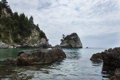 Bewölkter Tag auf Strand Parga Griechenland Piso Krioneri Lizenzfreie Stockfotos