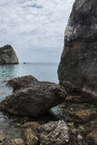 Bewölkter Tag auf Strand Parga Griechenland Piso Krioneri Stockfotos