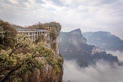 Bewölkter Tian Men Mountains in Zhangjiajie Stockfotografie