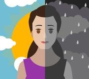 Bewölkter und glänzender Himmel der zweipoligen Geistesstörungsmädchenfrau der Persönlichkeitsspaltung lizenzfreie abbildung