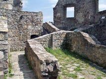 Bewaard binnenland van het Kasteel van Strecno royalty-vrije stock foto's