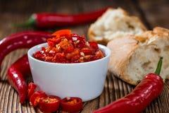 Bewaarde rode Chilis royalty-vrije stock foto