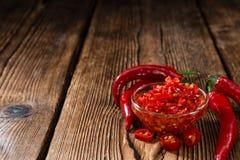 Bewaarde rode Chilis royalty-vrije stock foto's