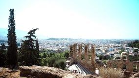 Bewaarde ruïnes van oud Griekenland in Athene stock videobeelden