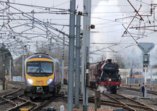 Bewaarde Stoom en moderne diesel treinen Carnforth Stock Fotografie