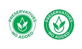 Bewaarmiddelen geen toegevoegd vectorpictogram Groen blad en daling, het pakketzegel van het bewaarmiddelen vrije voedsel stock illustratie