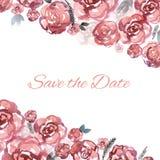 Bewaart de hand geschilderde huwelijkskaart de datum met de roze rozen van waterverfbloemen Stock Foto's