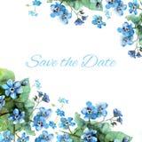 Bewaart de hand geschilderde huwelijkskaart de datum met waterverfbloemen Stock Afbeelding
