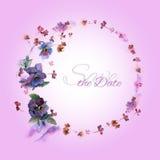 Bewaart de hand geschilderde huwelijkskaart de datum met waterverfbloemen Stock Foto's