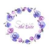 Bewaart de hand geschilderde huwelijkskaart de datum met waterverfbloemen Royalty-vrije Stock Afbeelding