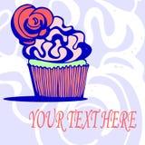 Bewaart de hand getrokken cupcake kaartuitnodiging het datumhuwelijk Royalty-vrije Stock Afbeelding