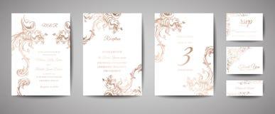 Bewaart het luxe Uitstekende Huwelijk de Datum, de Inzameling van Uitnodigingskaarten met Gouden Foliekader en Kroon in grafische stock illustratie