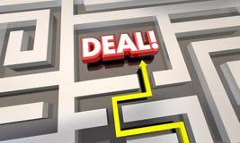 Bewaart het overeenkomst Gesloten Verkoopcontract Geldlabyrint Stock Afbeelding
