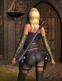 Bewaffnete junge Frau von hinten Stockfotografie