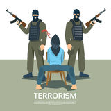 Bewaffnete Terrorist-Group With Hostage-Entführung Lizenzfreies Stockbild