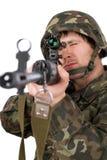Bewaffneter Soldat mit svd Stockfotos