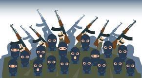 Bewaffneter Terrorist Group Terrorism Concept Stockfotos