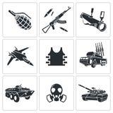 Bewaffnungs-Ikonensatz Lizenzfreie Stockfotos