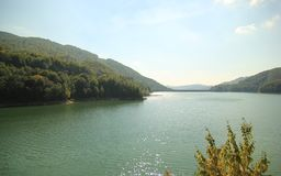 Bewaldeter Berg und Flusslandschaft Lizenzfreies Stockbild