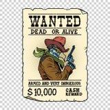 Bewapende robotcowboy Steampunk retro advertentie vector illustratie