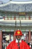 Bewapende wacht bij Deoksugung-Paleis, Seoel, Zuid-Korea Royalty-vrije Stock Foto
