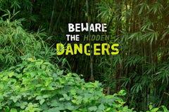 Beware οι κρυμμένοι κίνδυνοι και η υποδοχή στη ζούγκλα Tha πραγμάτων στοκ εικόνα