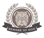 Beware του διακριτικού σκυλιών Στοκ εικόνες με δικαίωμα ελεύθερης χρήσης