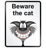 Beware το σημάδι πληροφοριών γατών Στοκ φωτογραφία με δικαίωμα ελεύθερης χρήσης